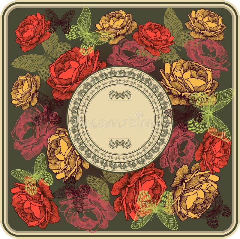 Tappningram med rosor och fjärilar, vektorillustration stock illustrationer