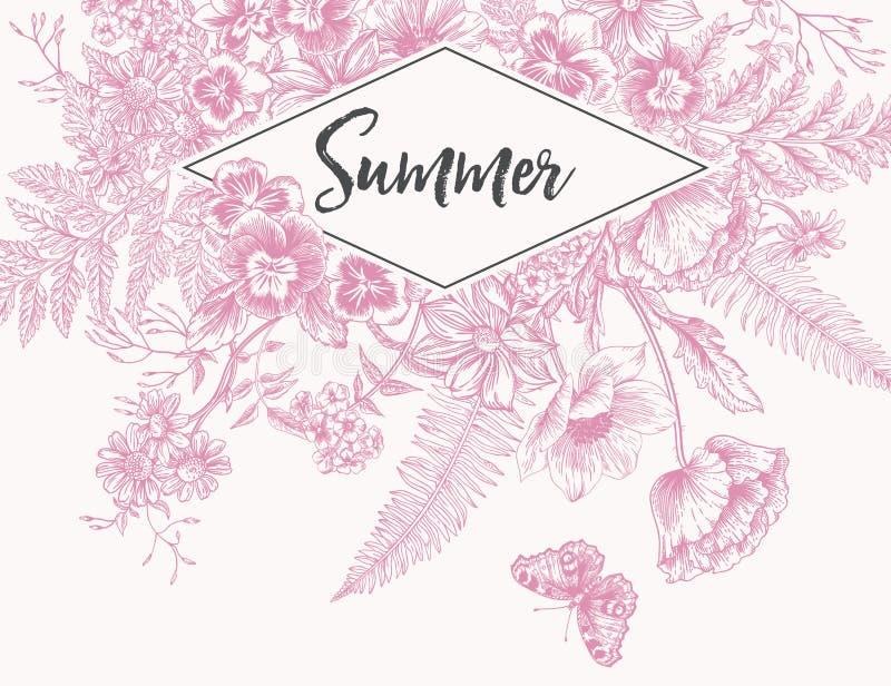 Tappningram med trädgårds- blommor gravyr stock illustrationer
