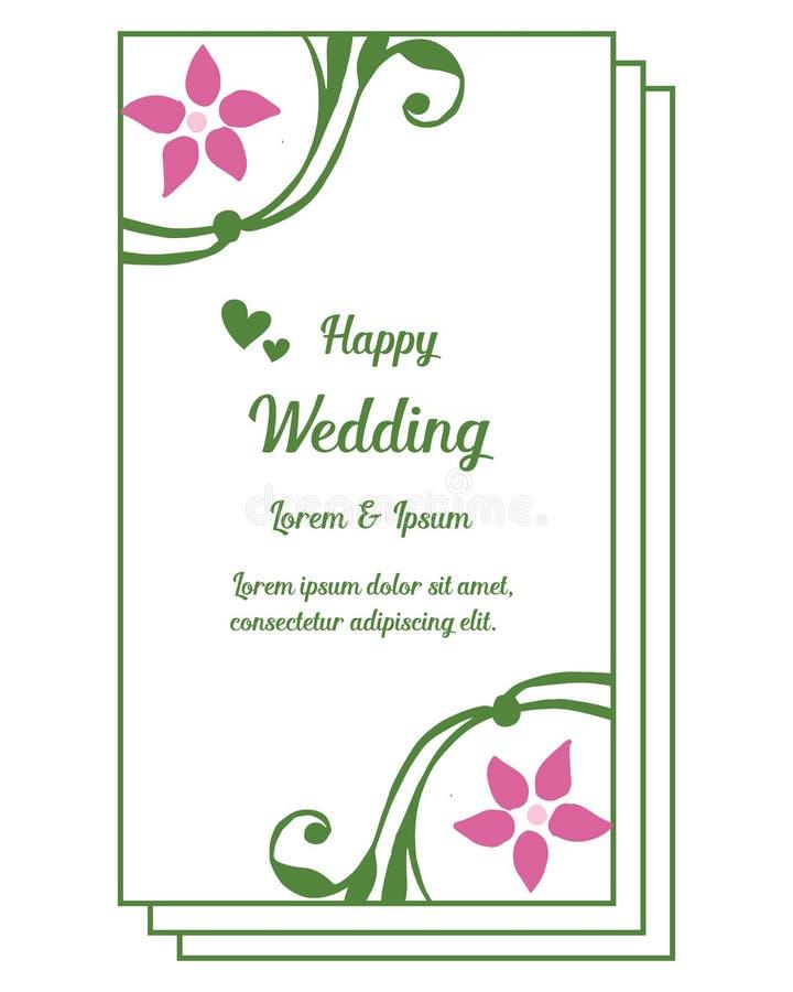 Tappningram, ram för designbeståndsdelblomma, lyckligt bröllop för inbjudankort vektor vektor illustrationer