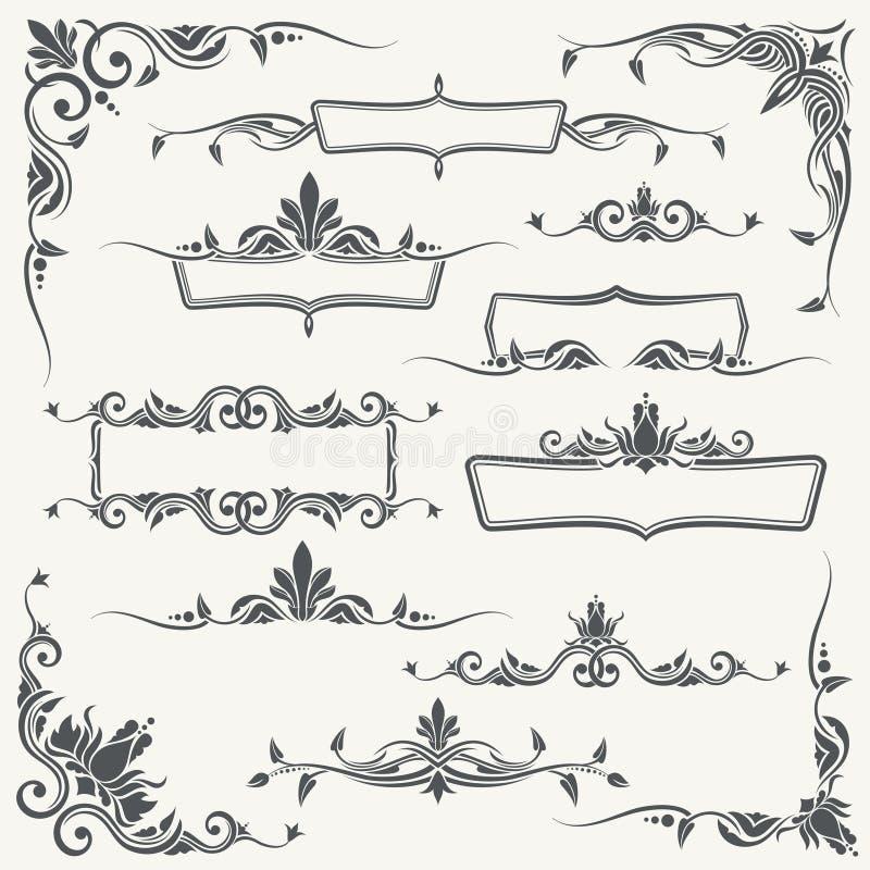 Tappningramar, hörn och avdelare med dekorativa blom- prydnader stock illustrationer