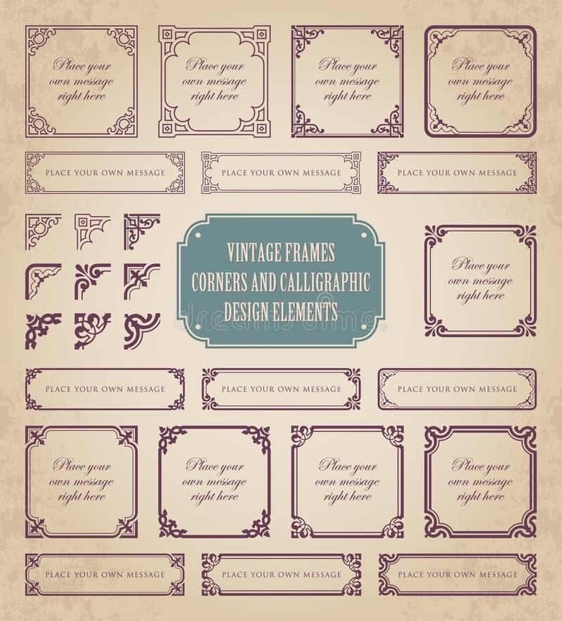 Tappningramar, hörn och calligraphic designbeståndsdelar royaltyfri illustrationer