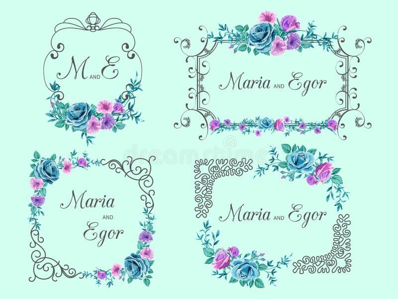 Tappningramar med blom- motiv av rosor stock illustrationer