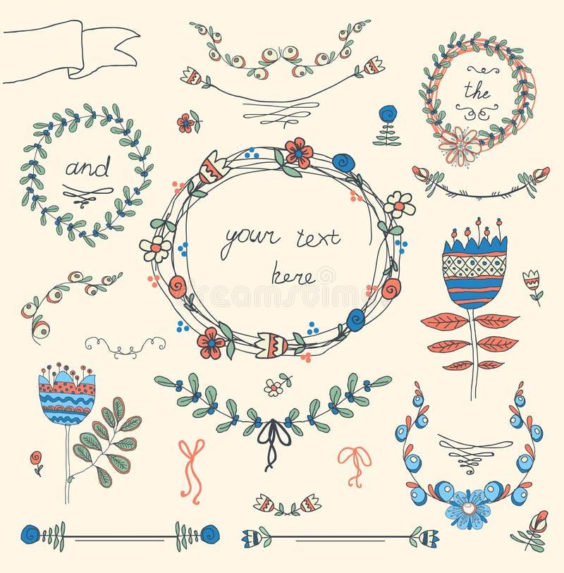 Tappningramar och handdrawn blom- vektor illustrationer