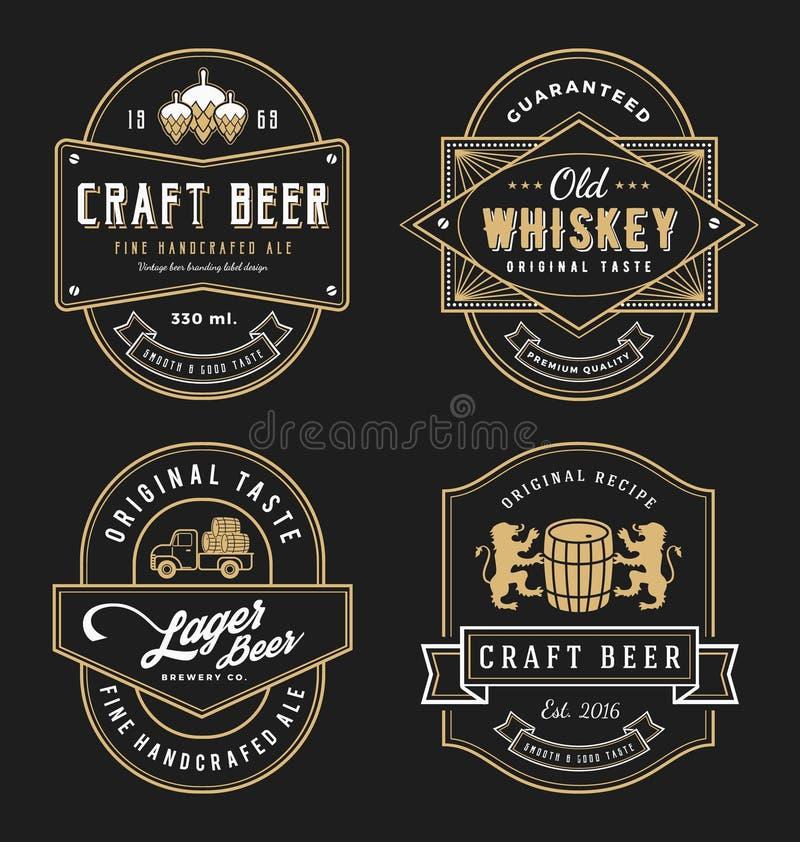 Tappningramdesignen för etiketter, banret, klistermärken och annan planlägger vektor illustrationer