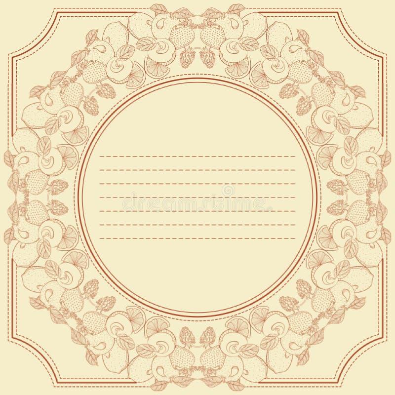 Tappningramkortet med bäret och frukt blandar royaltyfri illustrationer