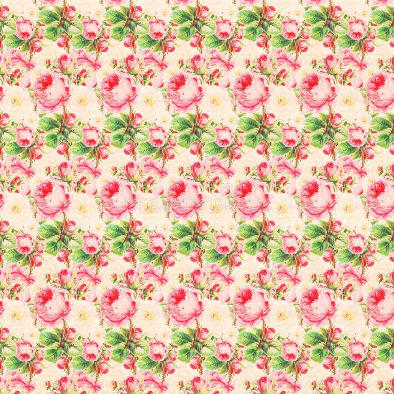 Tappningrosa färger och gräsplan Rose Pattern Background vektor illustrationer
