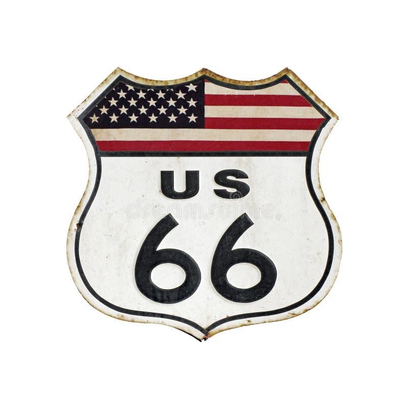 TappningRoute 66 tecken med U S flagga arkivfoto