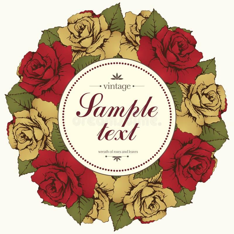Tappningrundaram av rosblomman, blommagirland Krans av blommaknoppar och sidor och etikett för text Illustration i retro s royaltyfri illustrationer