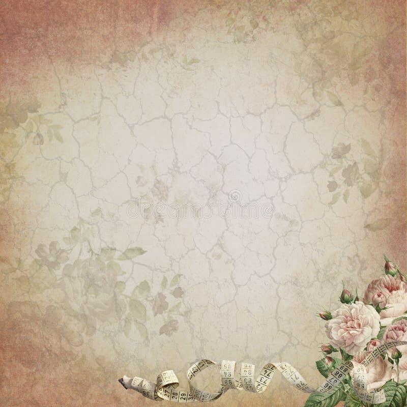 Tappningsömnadaningar och sjaskiga chic rosor - bekymrad tappning texturerad bakgrund royaltyfri illustrationer