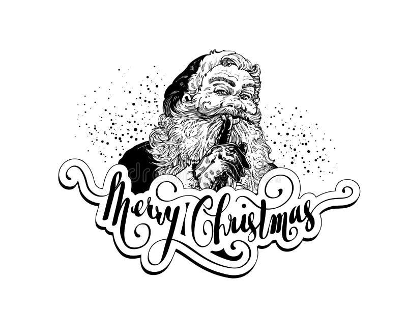 TappningSanta Claus Christmas illustration stock illustrationer