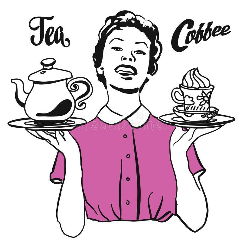 Tappningservitrins framlägger kaffe och te royaltyfri illustrationer
