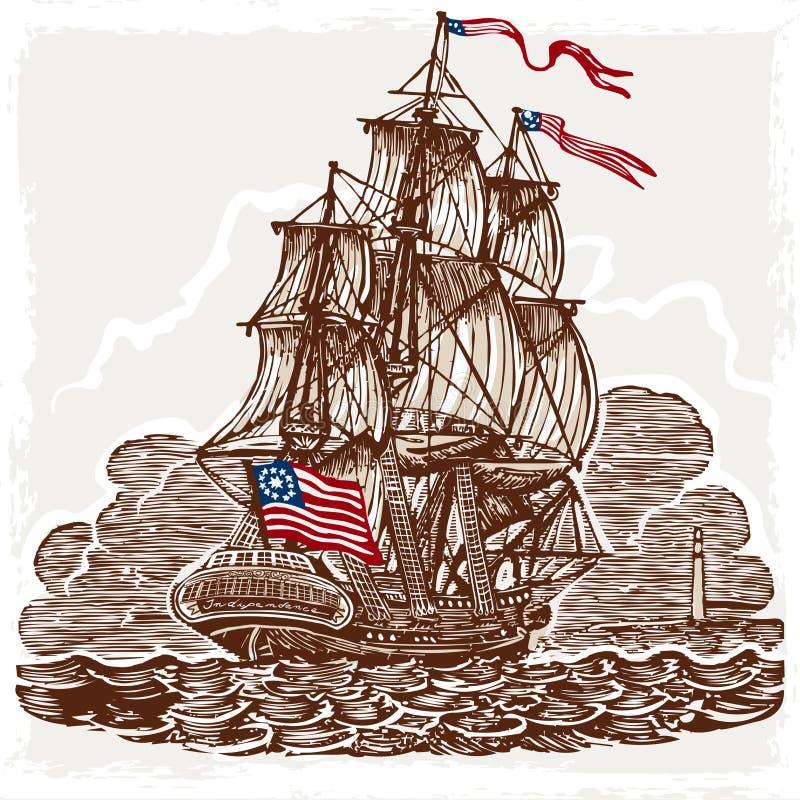 Tappningsida med den amerikanska skytteln på hav vektor illustrationer