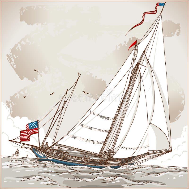Tappningsikt av den amerikanska yachten i regatta stock illustrationer
