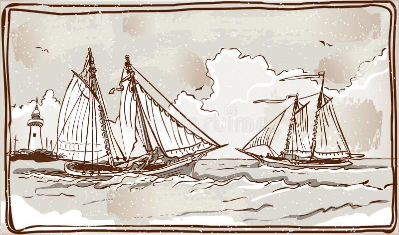 Tappningsikt av seglingskepp på havet royaltyfri illustrationer