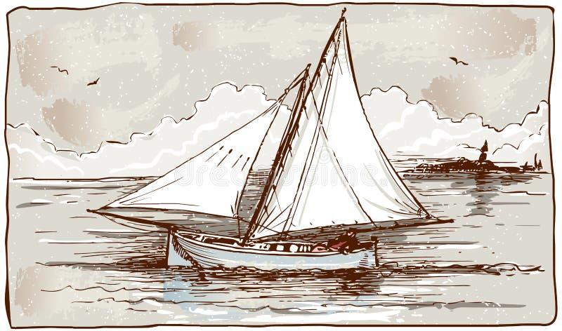 Tappningsikt av seglingskepp på havet stock illustrationer