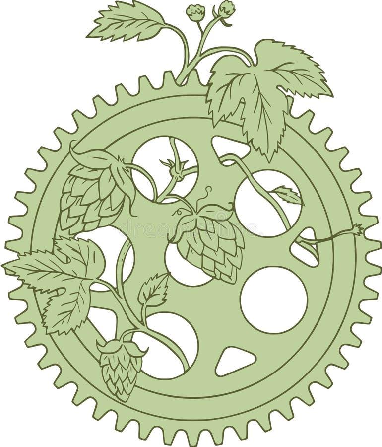 Tappningsingel Ring Crank Hops Drawing stock illustrationer