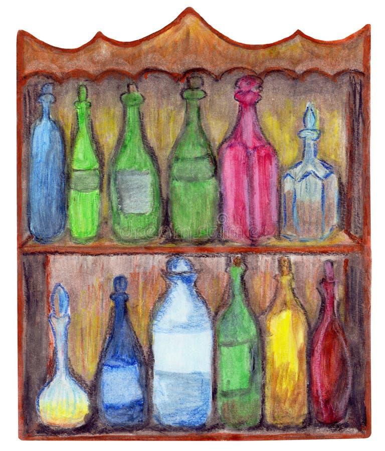 Tappningskåp med tolv flaskor stock illustrationer