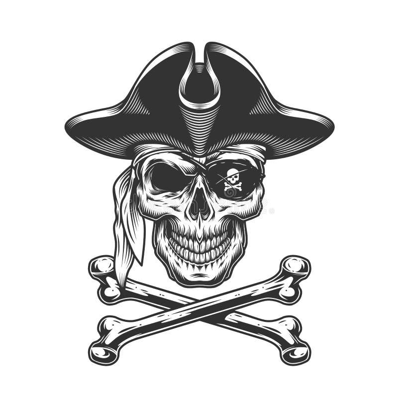 Tappningskallen piratkopierar in hatten royaltyfri illustrationer