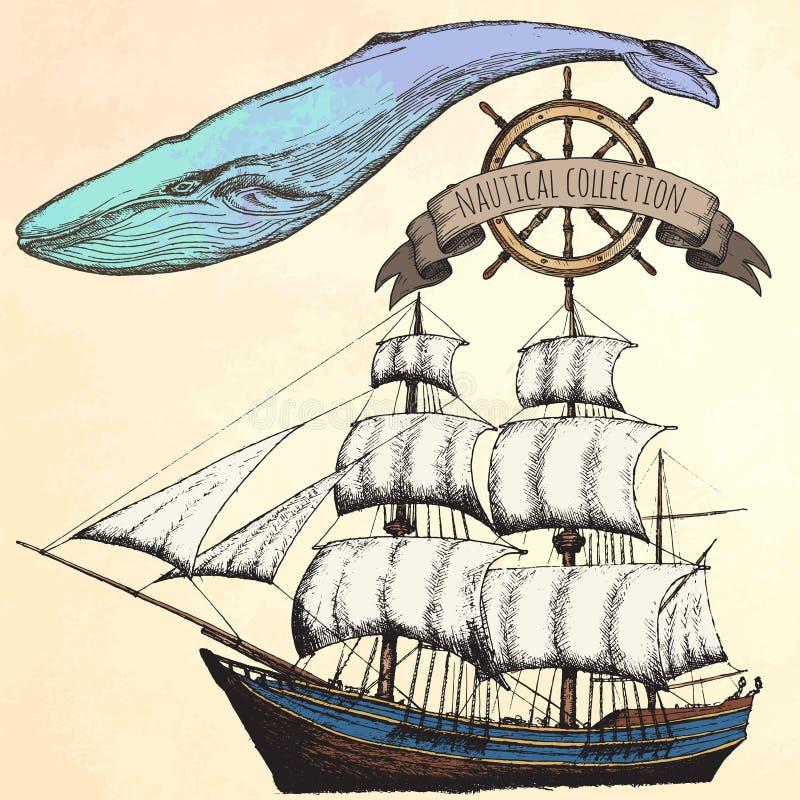 Tappningskepp Objekt på det marin- temat vektor illustrationer