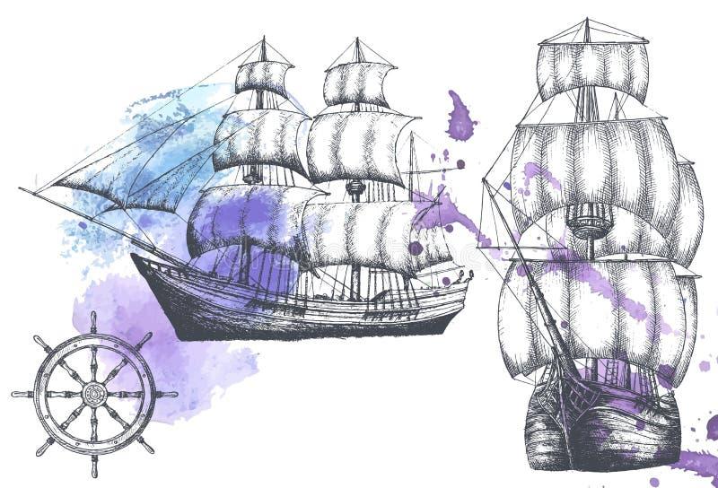 Tappningskepp Objekt på det marin- temat royaltyfri illustrationer