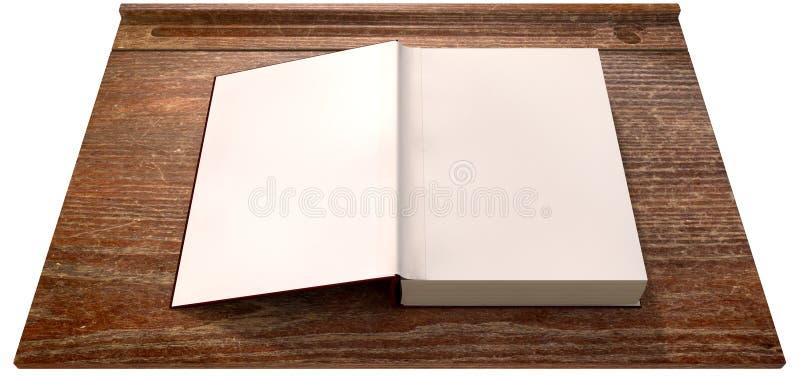 Tappningskolaskrivbord med den öppna tomma boken arkivfoto