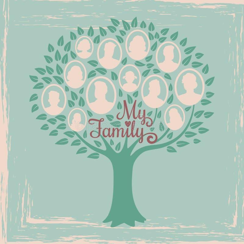 Tappningsläktforskningträd Genealogisk stamträdvektorillustration stock illustrationer
