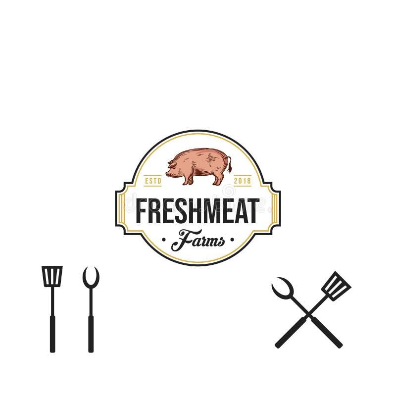 Tappningslaktlogo retro utformat kött shoppar emblemet, förser med märke, designbeståndsdelen, logotypmall också vektor för corel vektor illustrationer