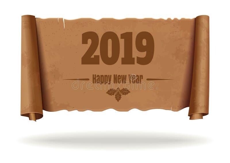 Tappningsnirkel med det lyckliga nya året 2019 för inskrift vektor illustrationer