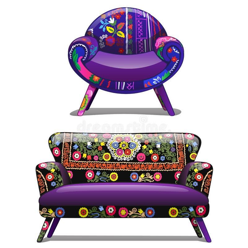 Tappningsoffa och stol med en djärv modell också vektor för coreldrawillustration stock illustrationer