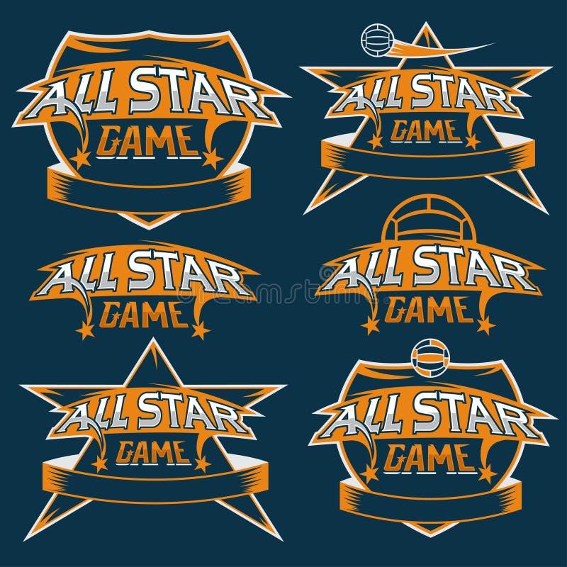 tappningsportar som all stjärna krönar med fotbolltema royaltyfri illustrationer