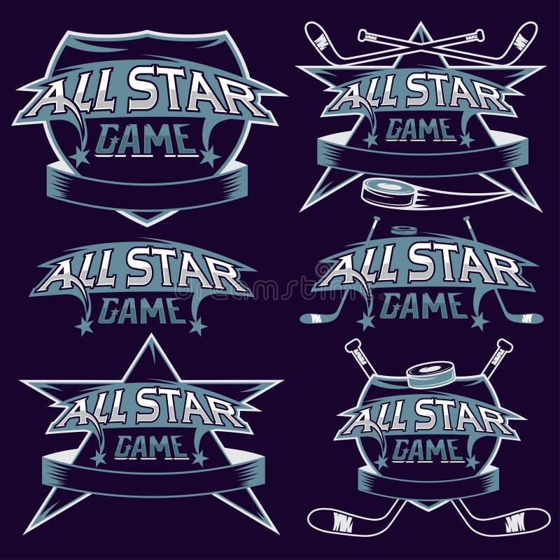tappningsportar som all stjärna krönar med hockeytema vektor illustrationer