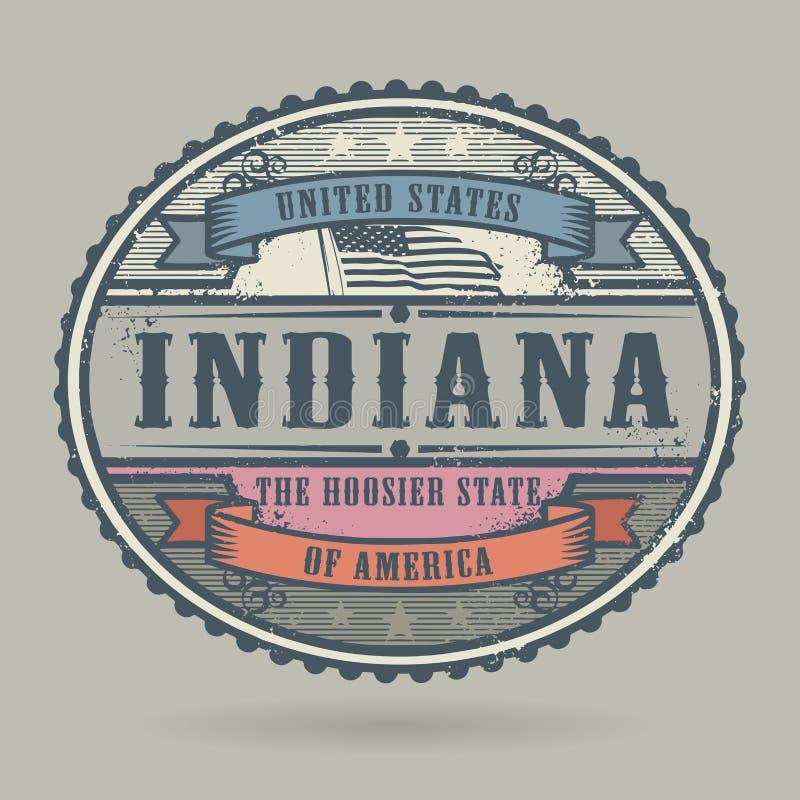 Tappningstämpel med textAmerikas förenta stater, Indiana stock illustrationer