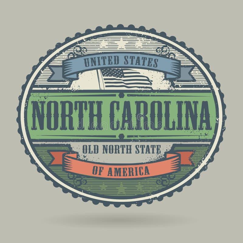 Tappningstämpel med textAmerikas förenta stater, norr Caro vektor illustrationer