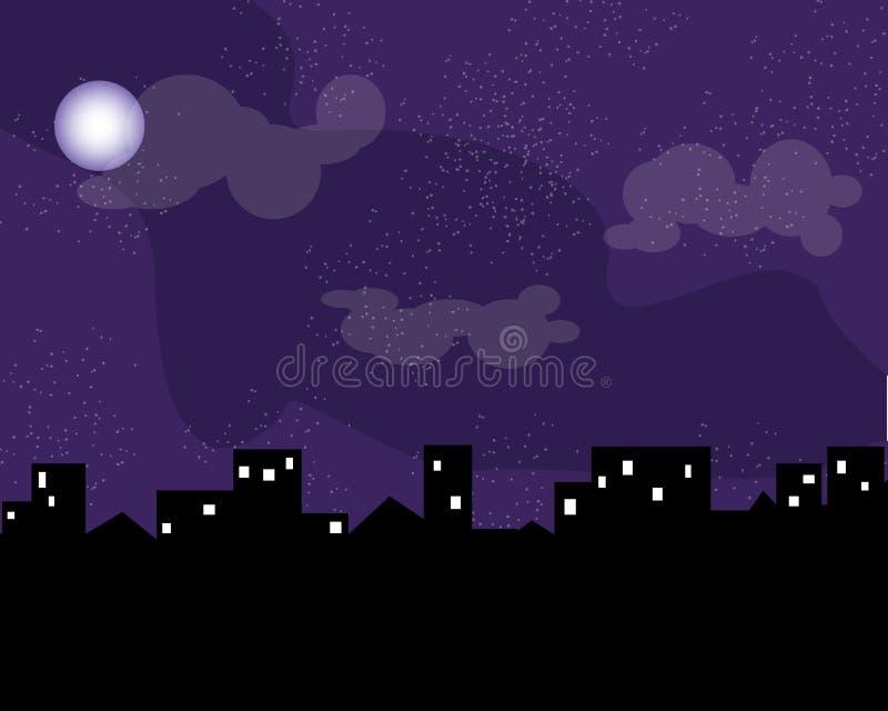 Tappningstad på den ljusa månen och stjärnan för natt royaltyfri foto