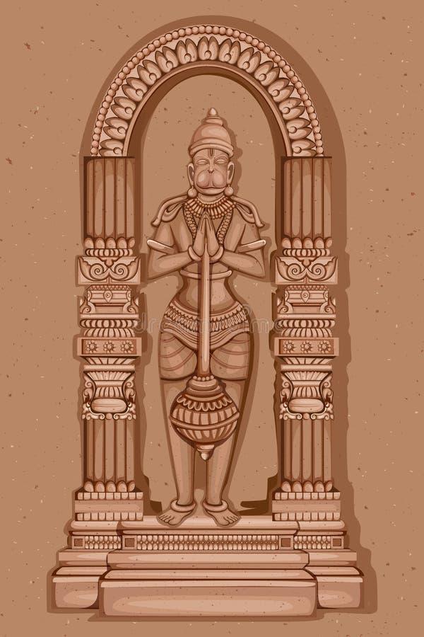 Tappningstaty av indiern Lord Hanuman Sculpture vektor illustrationer
