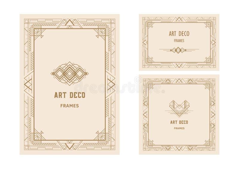 Tappningstil, Art Deco inramar den guld- vektorillustrationen vektor illustrationer