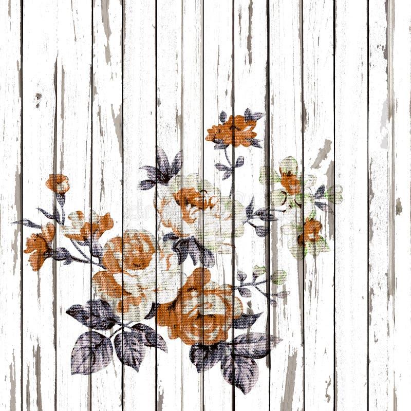 Tappningstil av gobelängen blommar tygmodellen på träbaksida royaltyfri foto