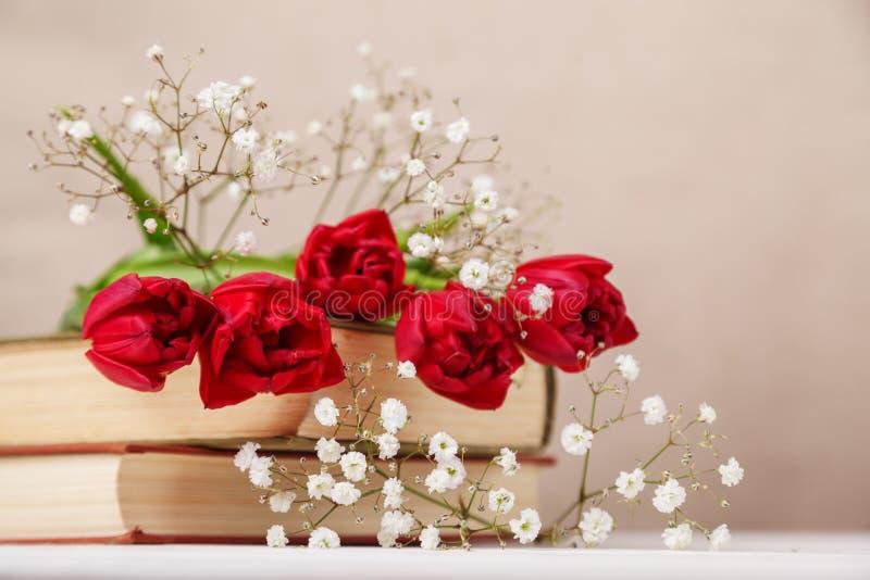 Tappningstilleben med röda tulpan för en vår och böcker på en beige bakgrund Moders dag, kvinnors dagbegrepp royaltyfria foton