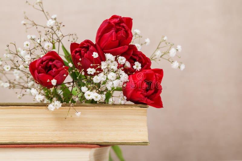 Tappningstilleben med röda tulpan för en vår och böcker på en beige bakgrund Moders dag, kvinnors dagbegrepp arkivbild