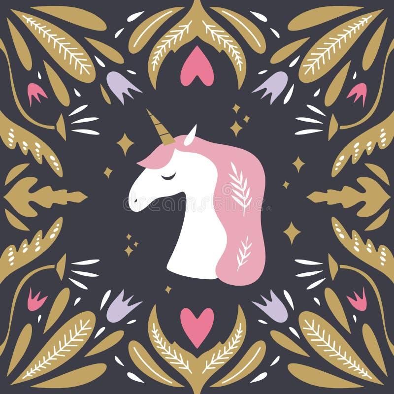 Tappningstilvykort med enhörningmodellen Artemis symbol i gammalgrekiskamytologi Tecknad filmenhörninghuvud, blom- ram som är uni royaltyfri illustrationer