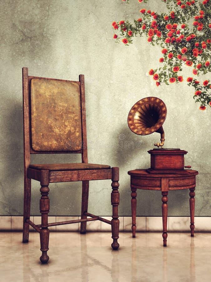 Tappningstol och grammofon royaltyfri illustrationer