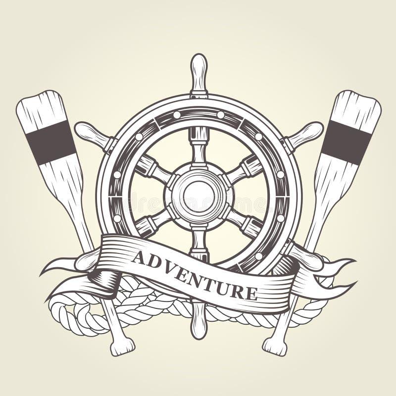 Tappningstyrninghjul och åror - nautiskt emblem med handwheelen royaltyfri illustrationer