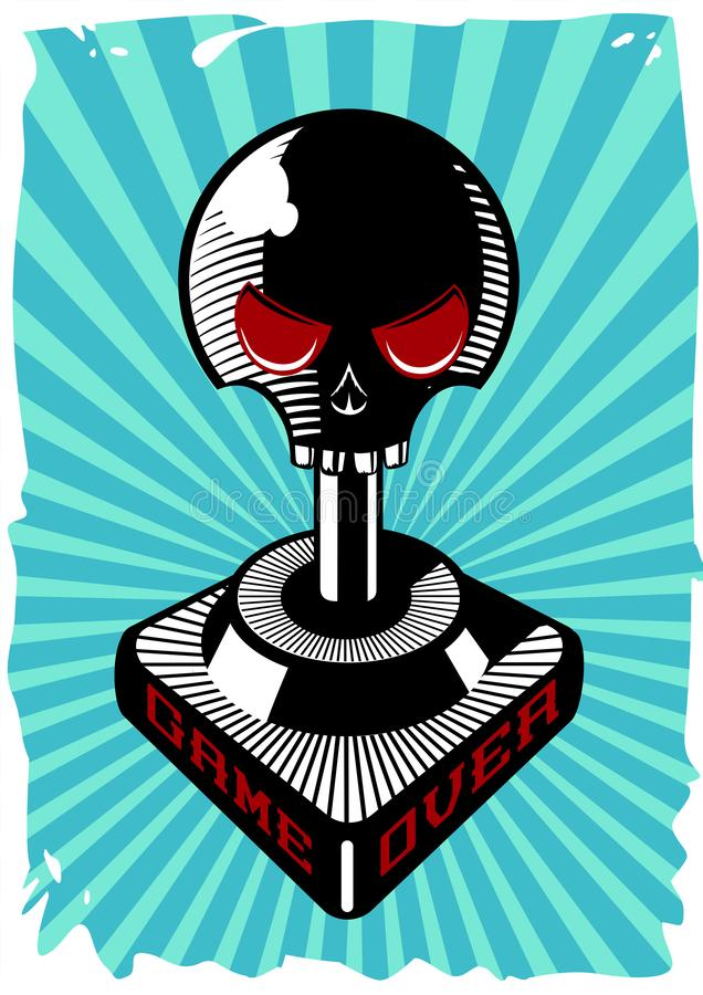 Tappningstyrspak med skallen Retro modig kontrollantvektorillustration Gallerivideospelaffisch royaltyfri illustrationer