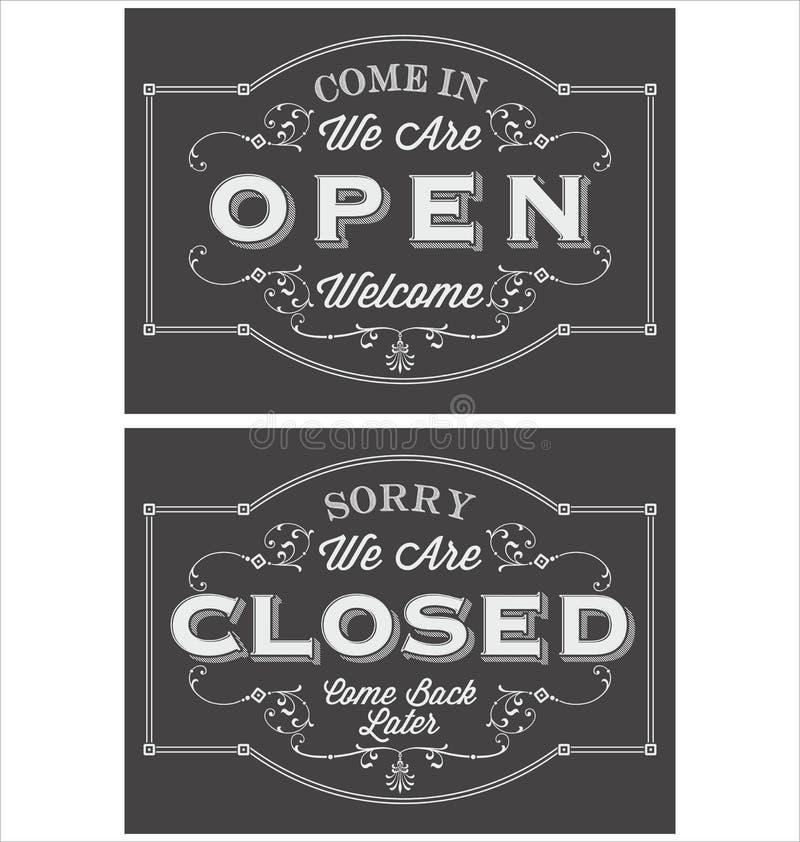 Tappningsymbolbokstäver kommer oss är in öppen, och ledset är vi stängda royaltyfri illustrationer