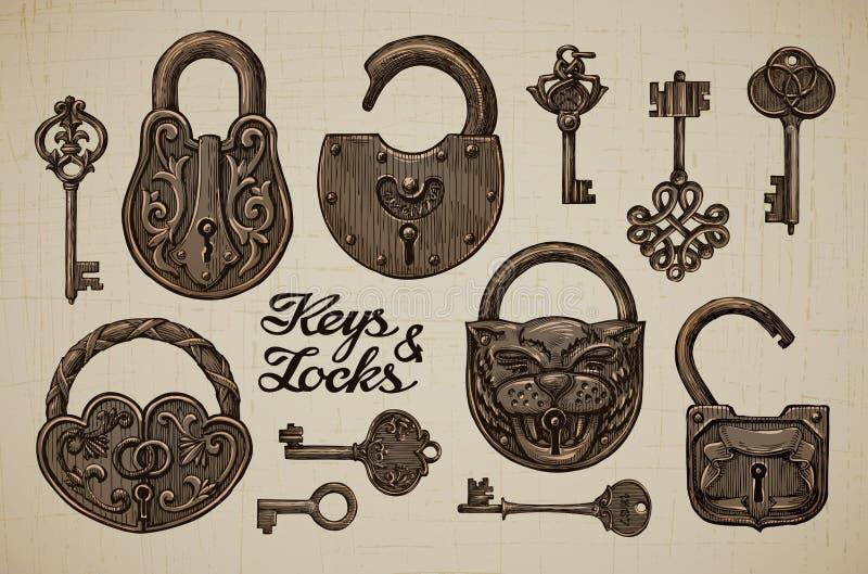 Tappningtangenter och lås Hand-dragen samling av retro objekt för vektor stock illustrationer
