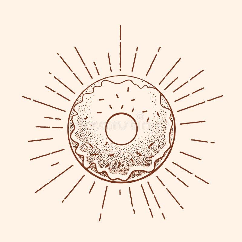 Tappningtatueringillustration Abstrakt vektormunktecken, symbol eller Logo Template i Dot Work Style och Retro strålar stock illustrationer