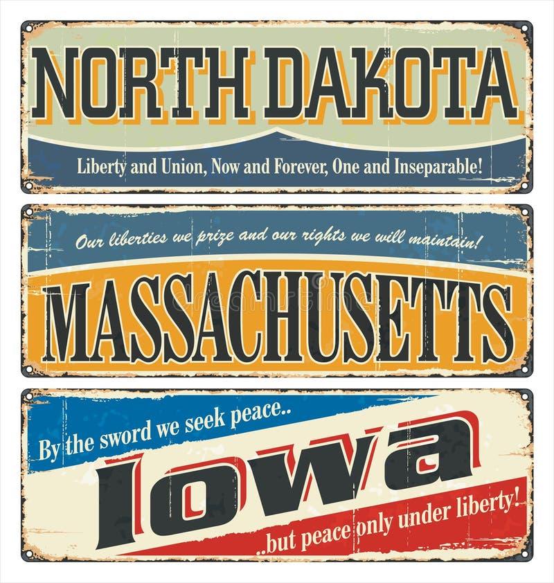 Tappningteckensamling med USA-staten North Dakota massachusetts iowa Retro souvenir eller vykortmallar på rostbackgroun vektor illustrationer
