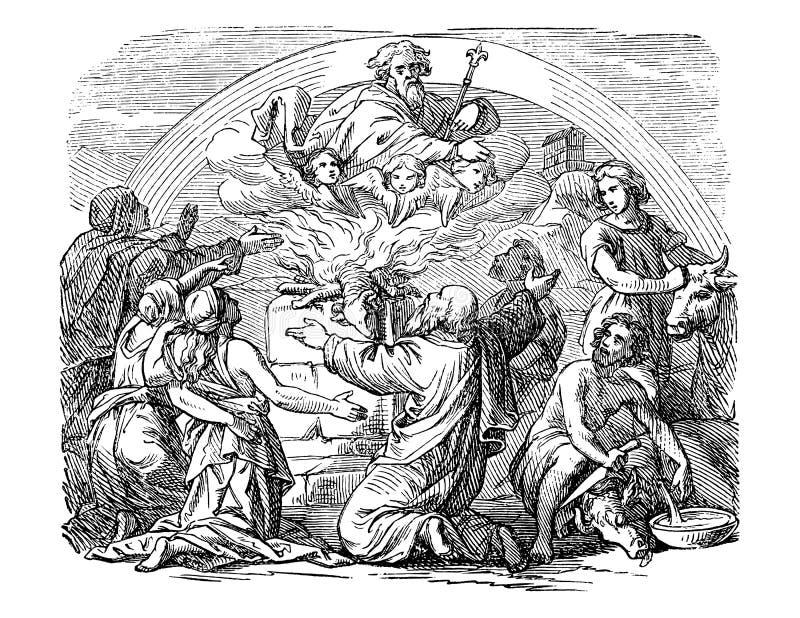 Tappningteckning av bibliska Noe och hans söner som offrar djur till guden royaltyfri illustrationer