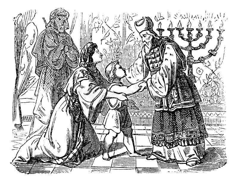 Tappningteckning av den bibliska berättelsen av Elkanah och hans fru Hannah Who Are Presenting Son Samuel till prästen Eli stock illustrationer