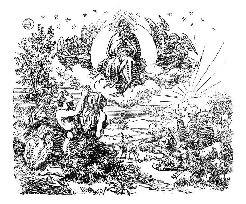Tappningteckning av den bibliska världen och trädgård av Eden Created av guden royaltyfri illustrationer